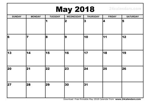 Monthly Calendar 2018 May 2018 Calendar Printable