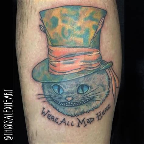cheshire tattoo we re all mad here cheshire cat on leg