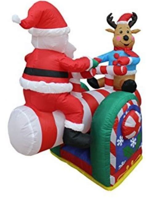 4 foot santas 4 foot animated santa claus and reindeer on teeter totter yard decor