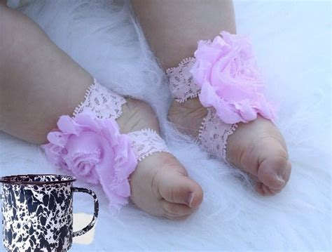 infant footless sandals boutique shabby chic flower footless shoe sandal baby