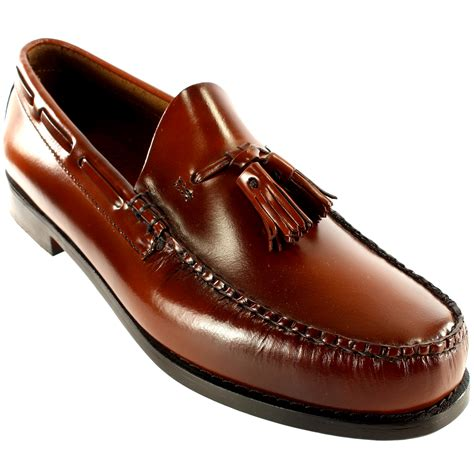 loafer leather shoes mens g h bass larkin slip on tassel smart loafer