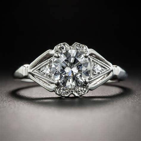 carat diamond platinum vintage engagement ring gia