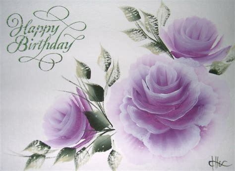 Happy Birthday Wishes Roses Hand Painted Greeting Cards