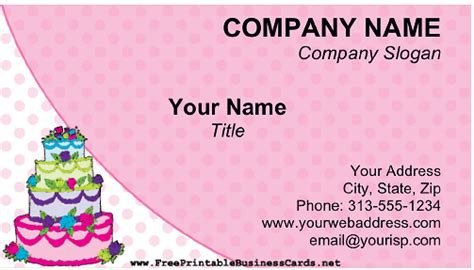 cake business cards templates cake business card