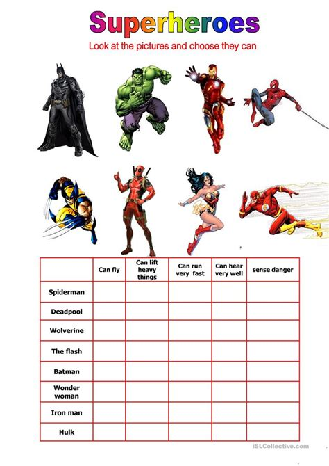 printable word search superheroes superheroes can they worksheet free esl printable