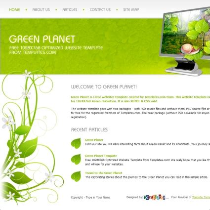 green planet template free website templates in css html