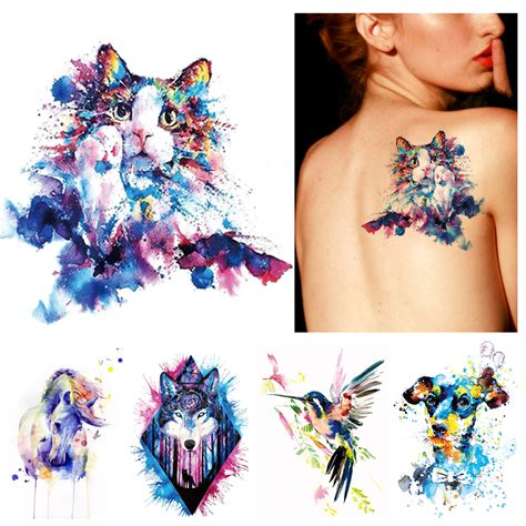 tattoo temporary body art 1x diy body art temporary tattoo animals watercolor painting