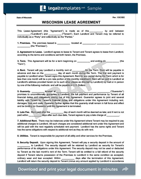 Wisconsin Residential Lease Rental Agreement Forms Docs Free Pdf Wisconsin Rental Lease Agreement Template
