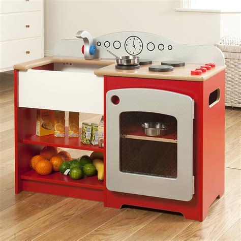 wooden kitchen kids play kit wooden red country play kitchen by millhouse notonthehighstreet com