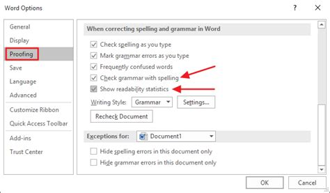 In Word how to test the readability of your writing in microsoft
