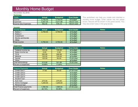household budget template excel free best photos of monthly household budget monthly