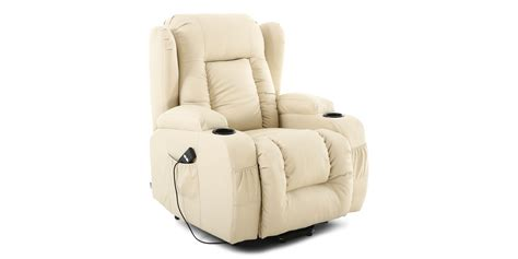 recliner massage heat chair caesar rise recliner chair with massage and heat in cream