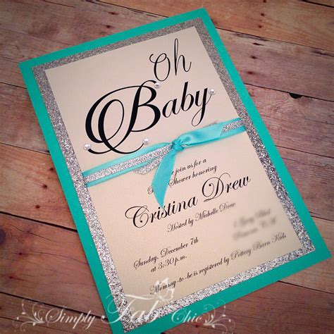 Handmade Invitations For Baby Shower - custom handmade turquoise silver glitter baby shower