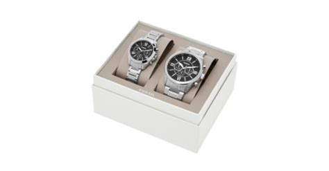Fossil Gift Card Balance - his and her chronograph stainless steel watch gift set fossil
