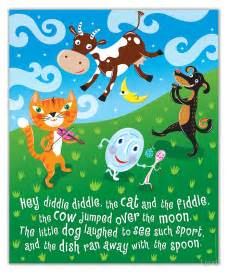 Large Nursery Wall Stickers quot hey diddle diddle nursery rhymes quot posters by lyuda