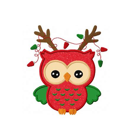 christmas owl pictures reindeer owl applique machine embroidery design no 0099 on etsy 2 99 applique