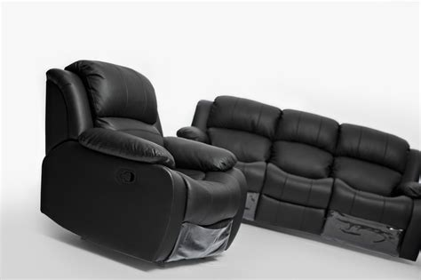 lounge sofa black leather single seater chair recliner