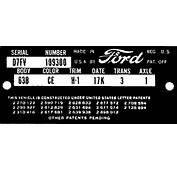 Ford Door Data Plate Decoder 1957 Through 1959  Parts