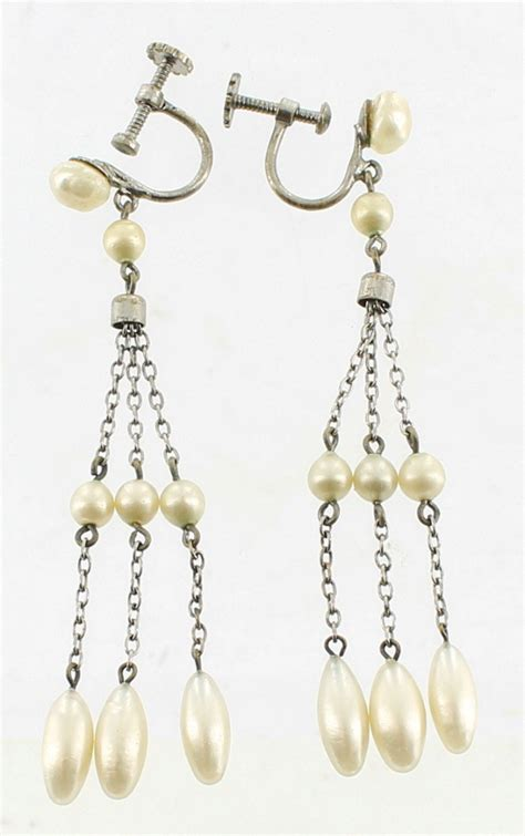 drop chandelier earrings antique deco faux pearls on chains chandelier earrings