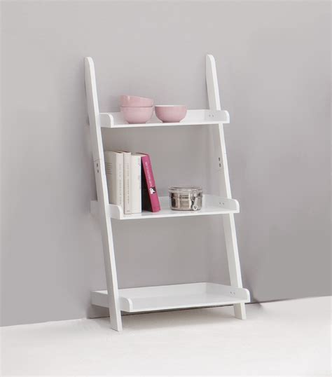 Ikea Leaning Ladder Bookcase Simple White Wooden Three Tier Ladder Shelf With Grey Wall