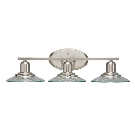 bathroom lighting fixtures lowes allen roth 3 light galileo brushed nickel modern