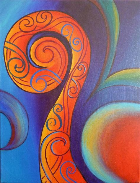design art college of new zealand tribal koru red painting by reina cottier