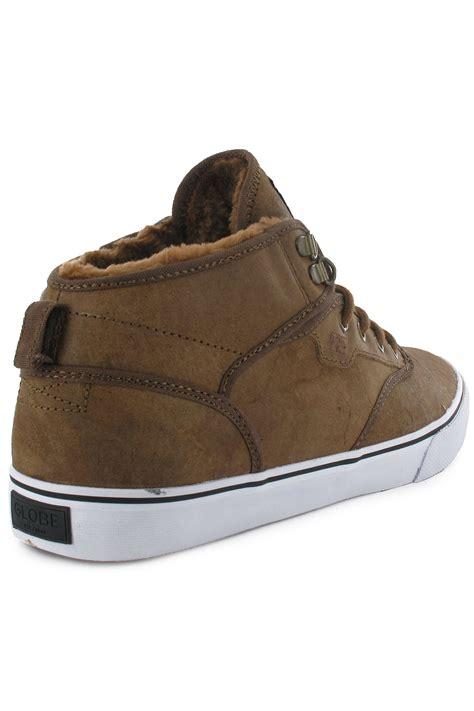 Sepatu Sneakers Globe Motley Original globe motley mid shoe distressed brown fur buy at skatedeluxe