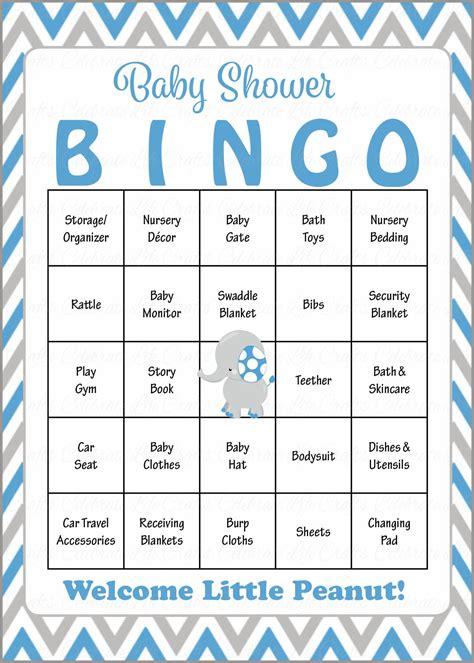 Bingo For Baby Shower Free Printable by Elephant Baby Bingo Cards Printable Prefilled