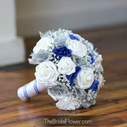 royal blue and silver wedding thebridalflower on artfire