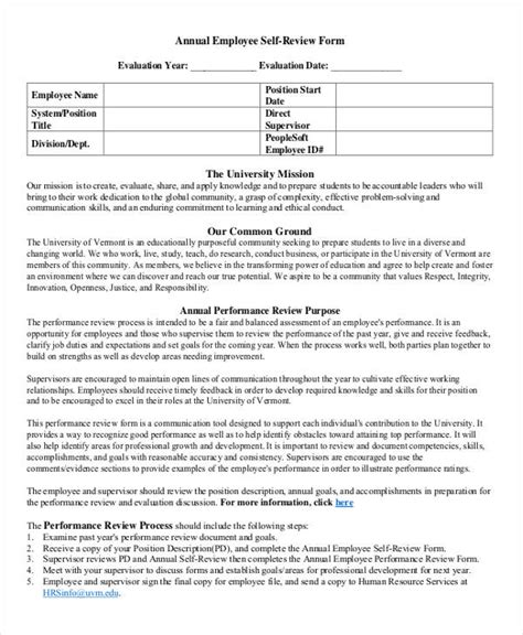 9 Employee Review Forms Free Sle Exle Format Free Premium Templates Annual Employee Review Template