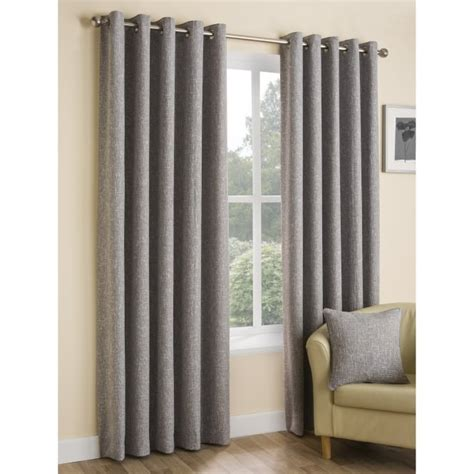 boucle curtains boucle plain ash grey eyelet ready made curtains closs