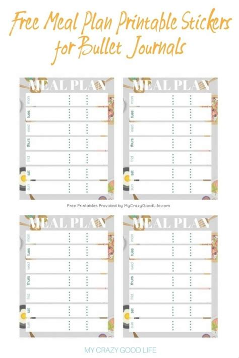 free meal plan printable bullet journal stickers my