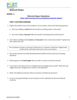 Phet Molecule Shapes Simulation Worksheet Answers