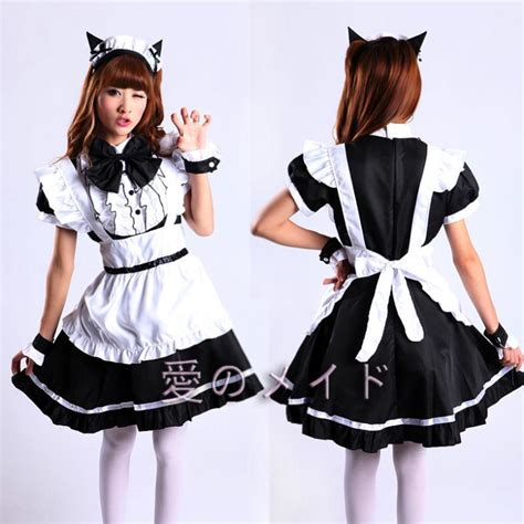 super cute cat ears maid outfit flounced classic ladies