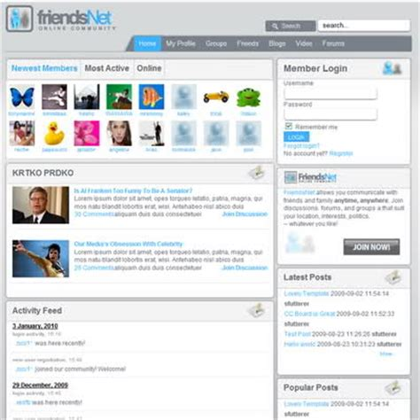 social networking templates joomla template joomagic social network theme