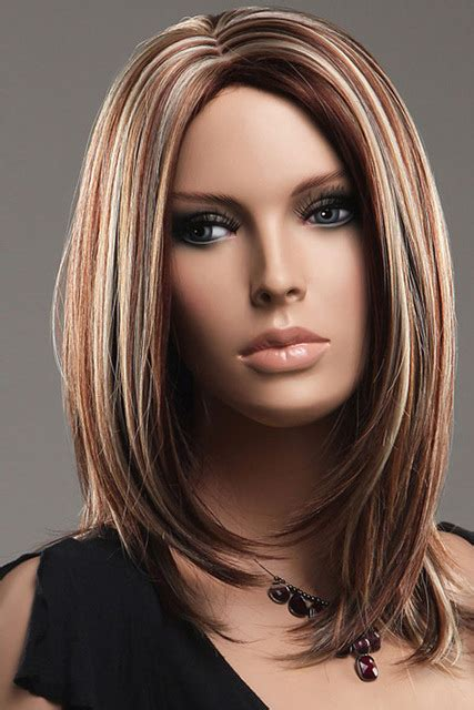 low lights on black shoulder length hair 48cm new realistic women brown blonde straight mid length