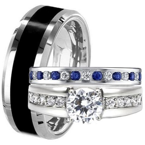 black tungsten stainless steel his hers blue sapphire cz