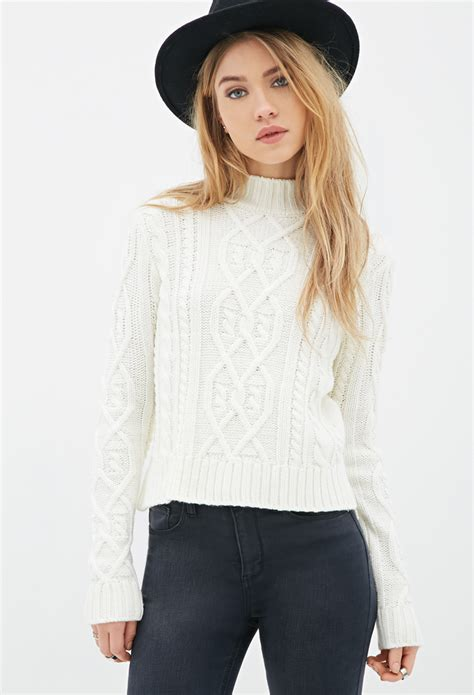 forever 21 cable knit sweater forever 21 cable knit mock neck sweater in lyst