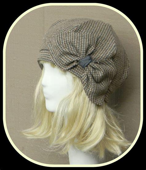 Herringbone Beret beret hat bow vintage brown herringbone wool beret
