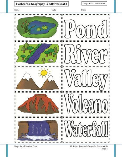 printable geography images landforms flashcards 3 homeschooling earth science