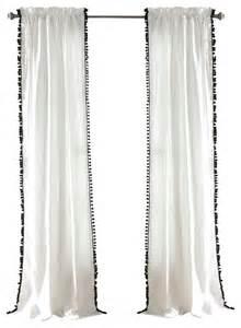 White Curtains With Pom Poms Decorating Pom Pom Window Curtain Black Curtains By Lush Decor