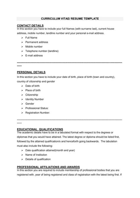 Curriculum Vitae Sle Format by Odt Resume Template 28 Images Odt Resume Template Sle