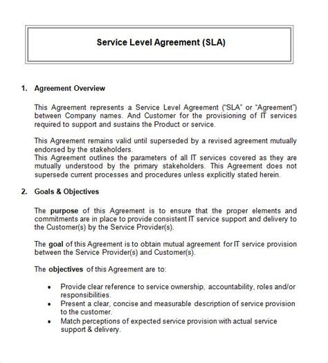 service level agreements templates service level agreement 9 free documents in
