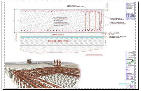 concrete slab section mat spread foundation cross section detail