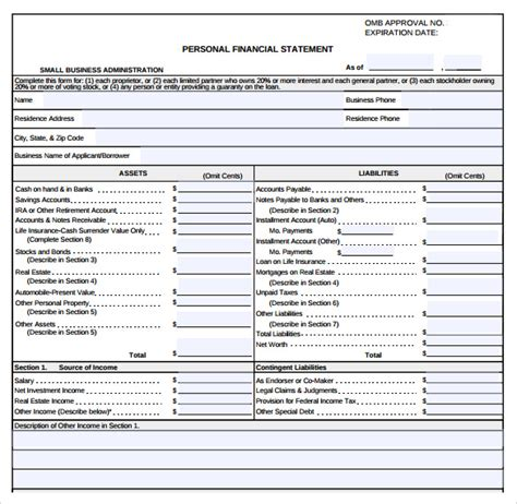 sle business financial statement form 9