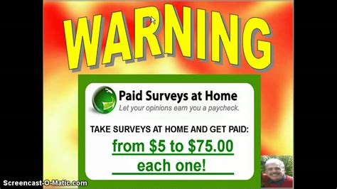 warning paid surveys from home vid