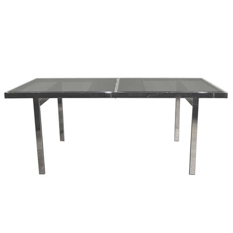 milo baughman expandable dining table chrome and smoked