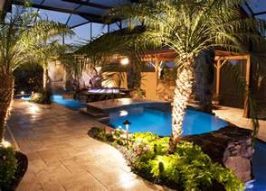 Outdoor Pool Designs Swimming Pool And Spa With Outdoor Kitchen Bar And