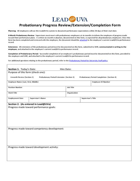 university of virginia l employee probation form university of virginia free download