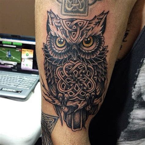 owl tattoo on woman s arm celtic owl tattoo designs 58 awesome owl tattoo ideas